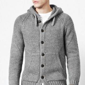 Grey woolen hood cardigan