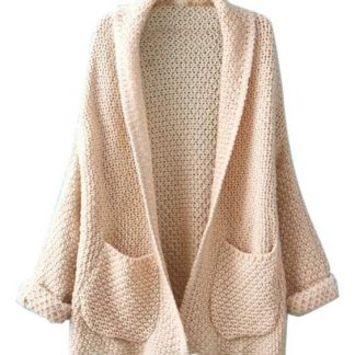 Beige long sleeved cardigan in full sleeve