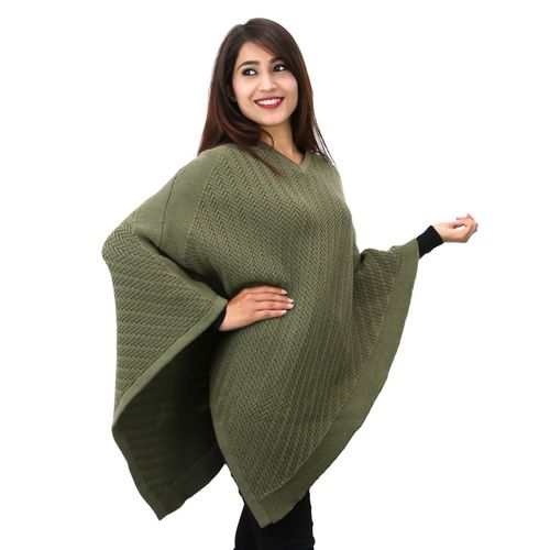 V-Neck woolen Poncho in reverse knit