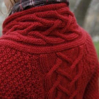Red cable woolen sweater