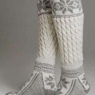 Long woolen socks in jacquard knit