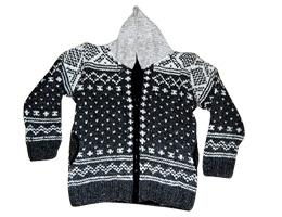 Jacquard knit woolen hoodie