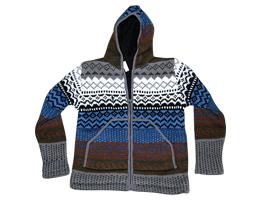 Woolen hoodie in jacquard knit