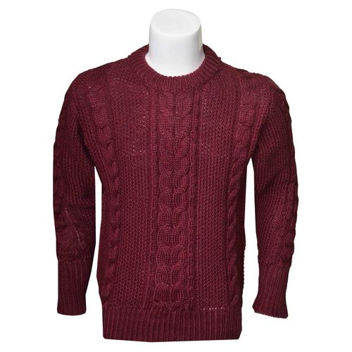 Cable Moss Wool Mix Sweater in round neck