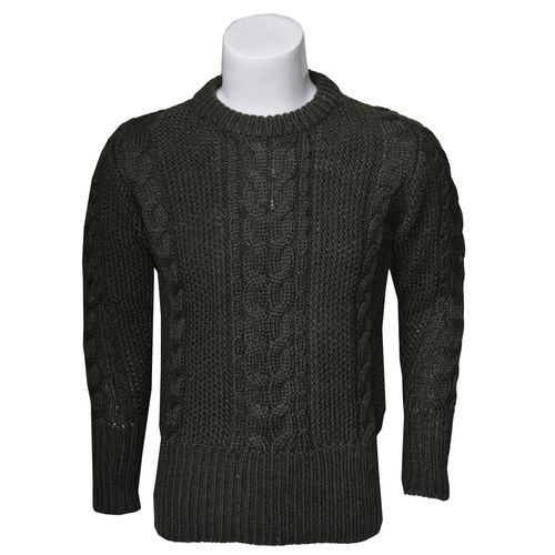 Moss Cable Woolen Sweater in round neck