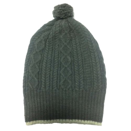 Cashmere Cable Cap in charcoal black