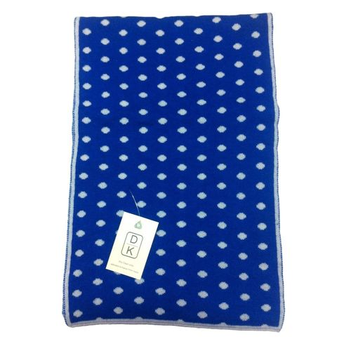 Cashmere Polka Dot Scarf in Blue dot white