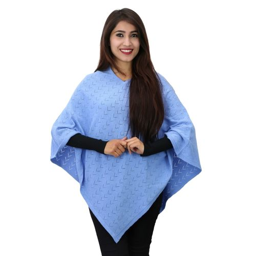 V-Neck Cashemere Poncho in pointel knit