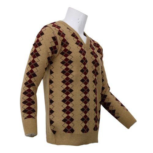 V-Neck Jaquard Pashmina Sweater in full sleeve