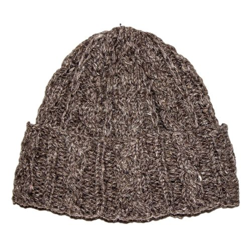Brown woolen cable hat