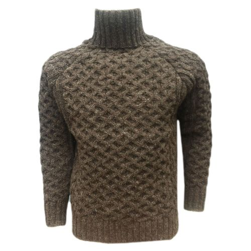 Woolen Knot Cable Pullover in High Neck